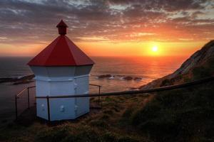Nyksund lighthouse in Norway during the midnight sun