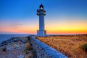 Coucher de soleil à Formentera dans le phare du cap Barbaria