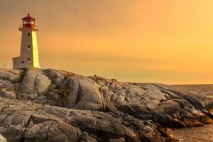 Lighthouse on a rocky shore.