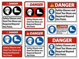 gafas de seguridad de peligro vector