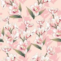 Pink Orchid flowers vector