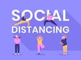 sociale afstandelijke typografie met oudere vrouwen