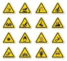 Warning Hazard Symbols labels Sign vector