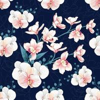 Orchid flowers on abstract dark blue background. vector