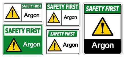 Safety First Argon Symbol Sign vector