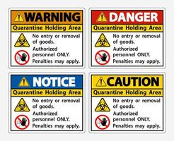Quarantine Holding Area Sign vector