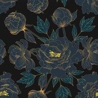 flores vintage de peonía dorada vector