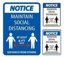mantener el letrero azul de distanciamiento social vector
