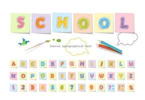 fuente de lápiz de crayón para niños vector