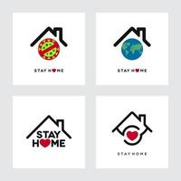 Stay Home Concepts with Globe and House Shapes vector