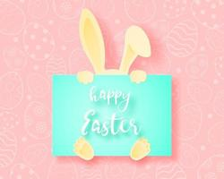 Paper art rabbit hiding behind Happy Easter card