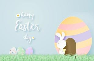 Paper art Easter design with rabbit exiting egg vector