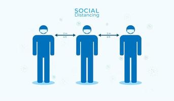 Social distancing poster with men wearing masks  vector