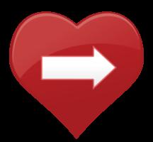 freccia dell'icona del cuore