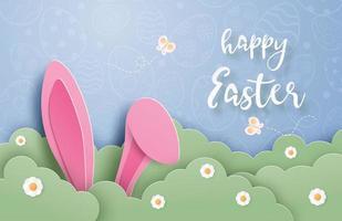 arte di carta poster di Pasqua con orecchie da coniglio tra i cespugli