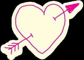 Heart hand drawn arrow png