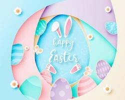Layered paper art poster with Easter eggs and rabbit
