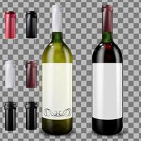 Realistic wine bottles with caps and sleeves vector