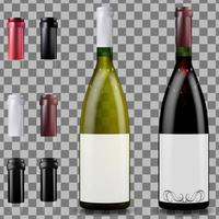 Red and white wine bottles, caps and sleeves vector