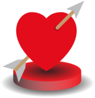 Heart with arrow in round disc png