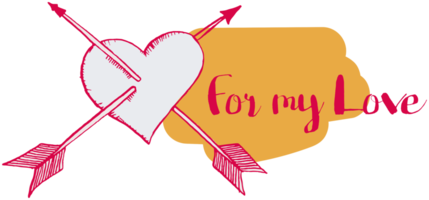 Heart with arrow hand drawn png