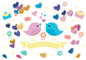 Love bird and heart