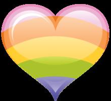 coração retrô do arco-íris