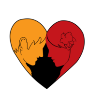 Heart loving man and woman