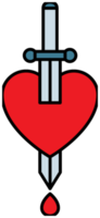 corazón con tatuaje de daga