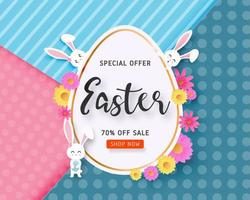 Easter sale banner with bunnies around large egg vector