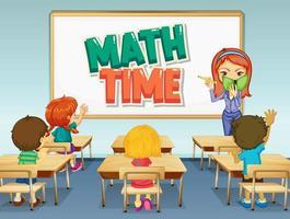 Classroom scene with math teacher and students vector