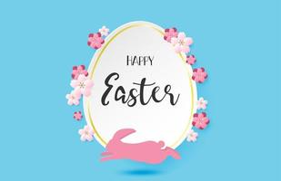 Paper art Easter egg and running rabbit