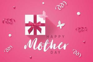 Cartel rosado del día de la madre con regalo y confeti