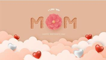 Paper art Mother's Day poster with hearts in clouds vector