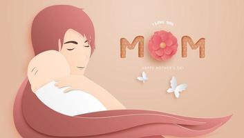 Arte de papel póster del día de la madre con mamá abrazando al bebé