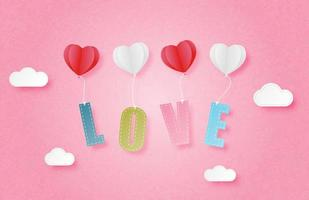 Paper art love text hanging from heart balloons vector