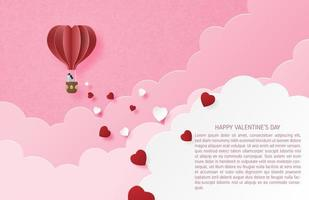 Couple in heart air ballon floating among clouds