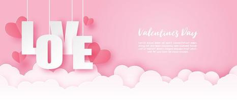 Paper art Valentine's banner with hanging LOVE text vector