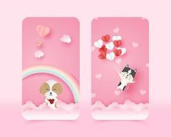 conjunto de fondos de pantalla móviles papert art valentine's animals vector