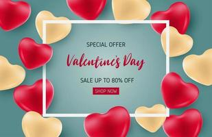 cartel de venta de San Valentín con corazones rojos y dorados vector