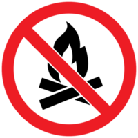 segno proibito nessun accampamento di fuoco