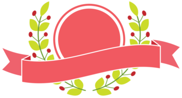 Pink badge with ribbon png