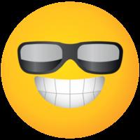 lunettes de soleil visage jaune emoji png