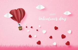Couple in hot air balloon flying in the sky with falling heart shape vector
