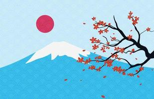 Landscape of Japanese with Fuji Mountain and Cherry Blossom vector