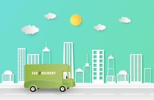 Online Delivery Service Delivery Eco Van Driving