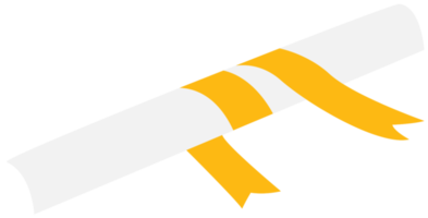 Scrolled paper with ribbon png