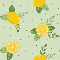 Tropical Summer Lemon Seamless Pattern