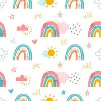 Rainbows and Clouds Seamless Background