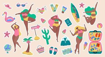set van avontuurlijk toerisme, reizen naar het buitenland, zomervakantie stickers vector